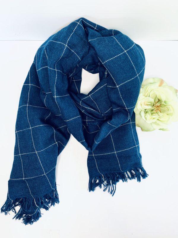Navy Plaid Blanket Wrap